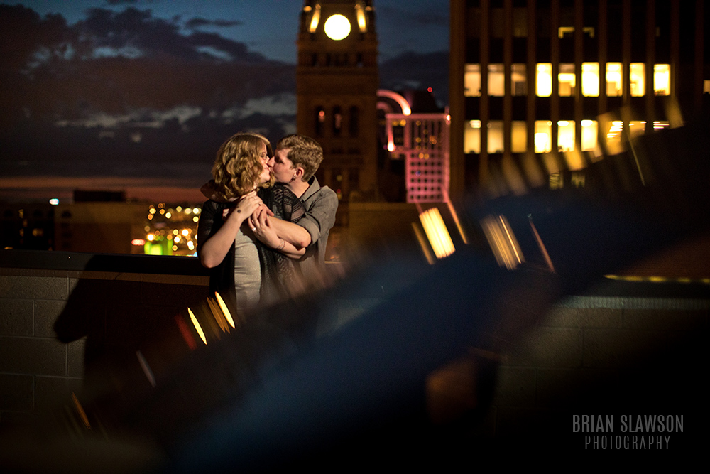downtown milwaukee engagement shoot
